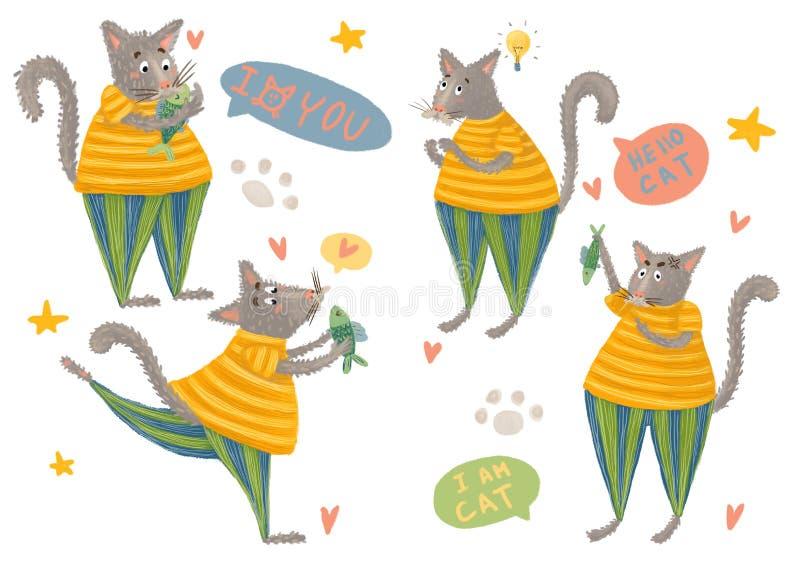 Vastgestelde stickers leuke katten stock afbeelding