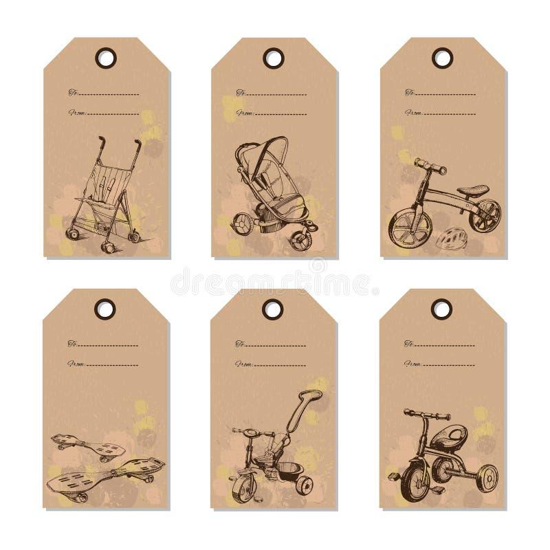 Vastgestelde uitstekende de giftkaart van het babyvervoer Hand getrokken ontwerp stock illustratie