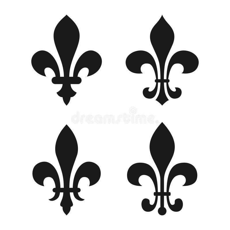 Vastgestelde uitstekende decoratieve heraldische lilys vector illustratie