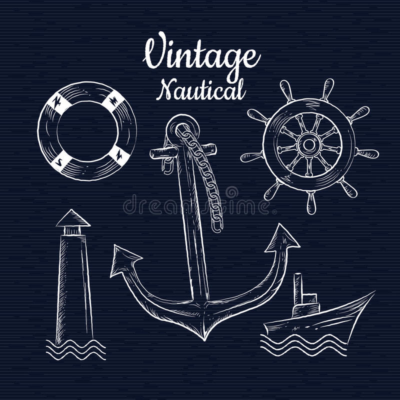 Vastgestelde uitstekende hand getrokken nauticavector royalty-vrije illustratie