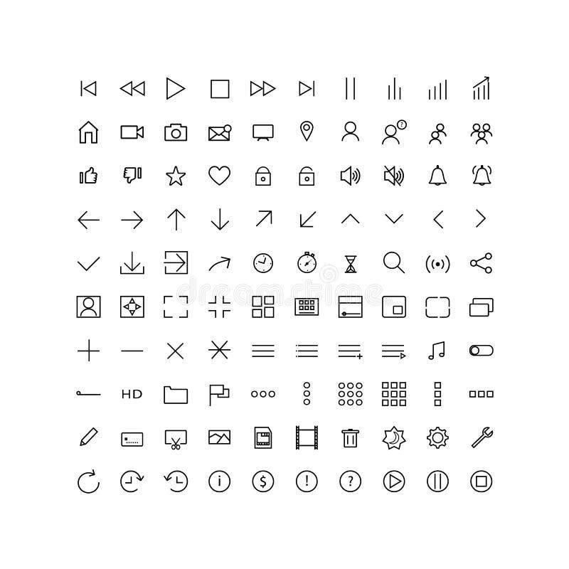 Vastgestelde universele pictogrammenmedia speler, UI, voor Web en mobiele, dunne lijn royalty-vrije illustratie