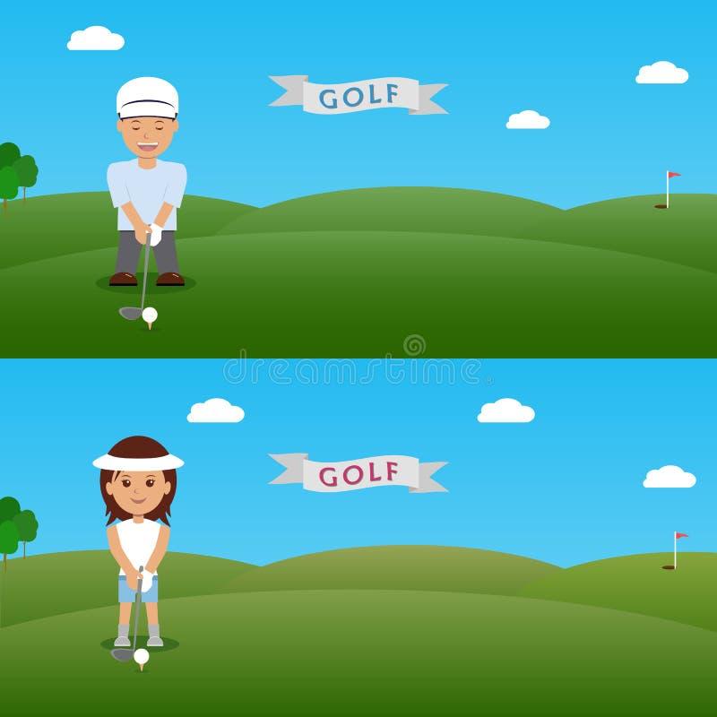 Vastgestelde van de illustratieman en vrouw golfspeler royalty-vrije illustratie