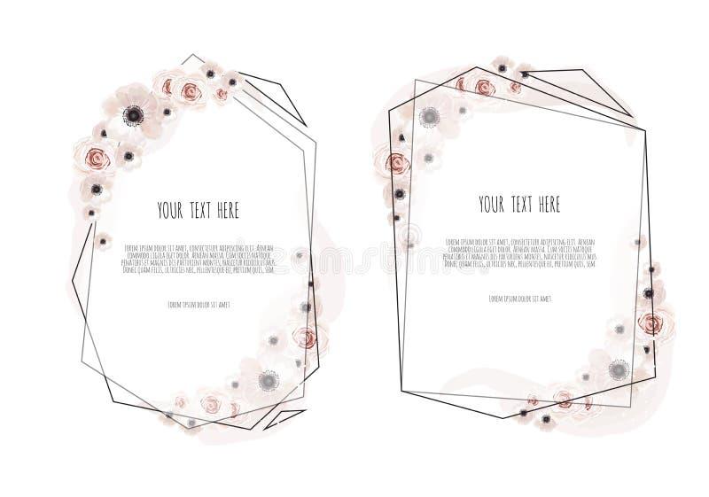 Vastgestelde Vector bloemenontwerpkaart De groet, prentbriefkaarhuwelijk nodigt malplaatje uit Elegant kader met roze en anemoon royalty-vrije illustratie