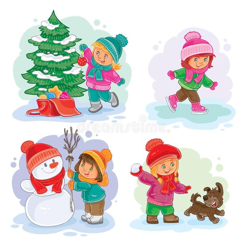 Vastgestelde vector de winterpictogrammen met kleine kinderen royalty-vrije illustratie