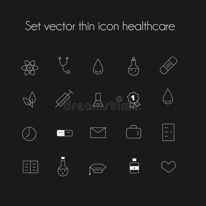 Vastgestelde vector dunne pictogramgezondheidszorg stock illustratie