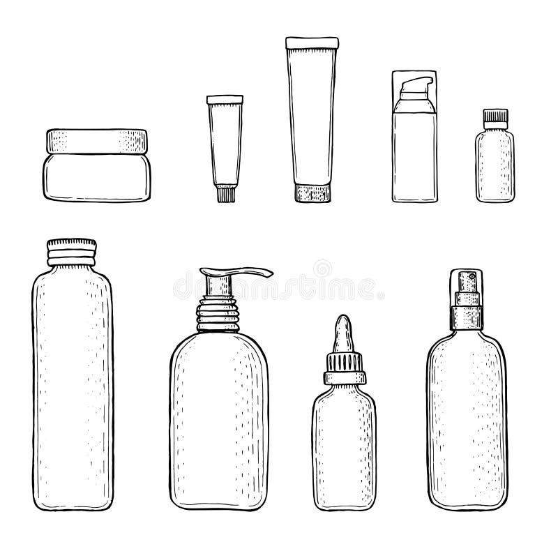 Vastgestelde vector lege malplaatjes van lege containers: flessen met nevel, automaat en druppelbuisje, roomkruik, buis royalty-vrije illustratie