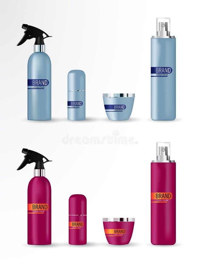Vastgestelde vector lege malplaatjes van lege en schone blauwe & rode plastic containers royalty-vrije stock afbeeldingen