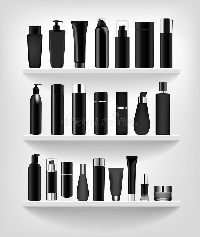 Vastgestelde vector lege malplaatjes van lege en schone witte plastic containersflessen met nevel, automaat en druppelbuisje, roo vector illustratie