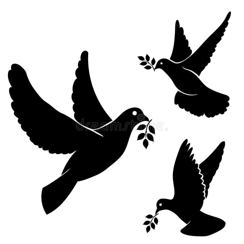 Vastgestelde vector zwarte silhouet vliegende duif, olijf vector illustratie