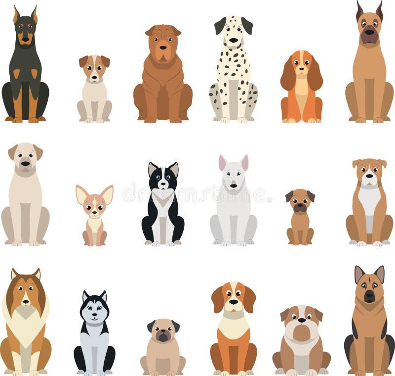 Vastgestelde vectorhonden royalty-vrije illustratie