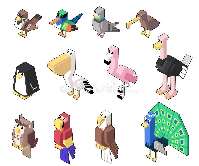 Vastgestelde vectorillustratie van leuk isometrisch vogel en gevogelte in minimale stijl stock illustratie