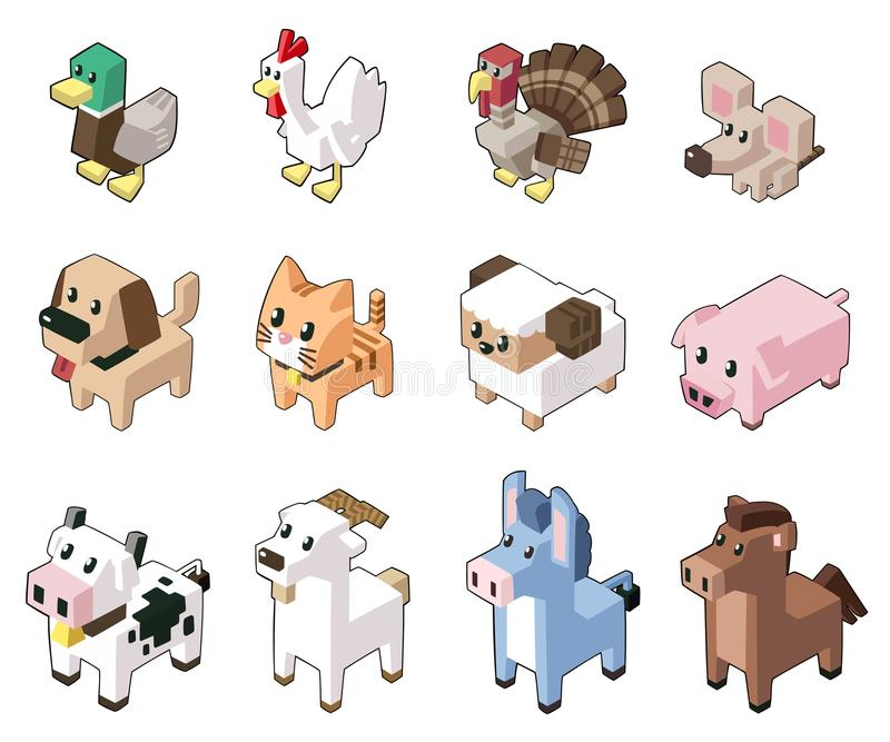 Vastgestelde vectorillustratie van leuke isometrische dieren vector illustratie