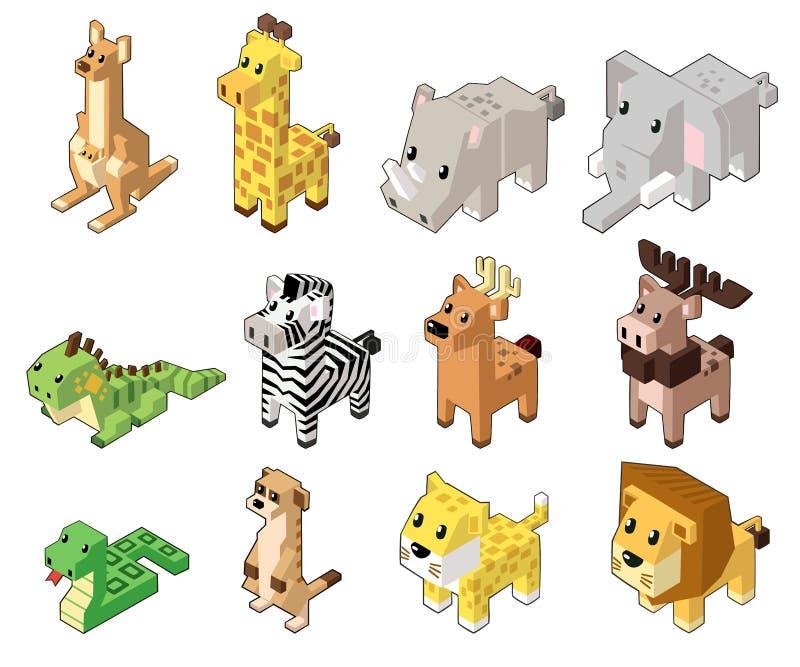 Vastgestelde vectorillustratie van leuke isometrische dieren stock illustratie