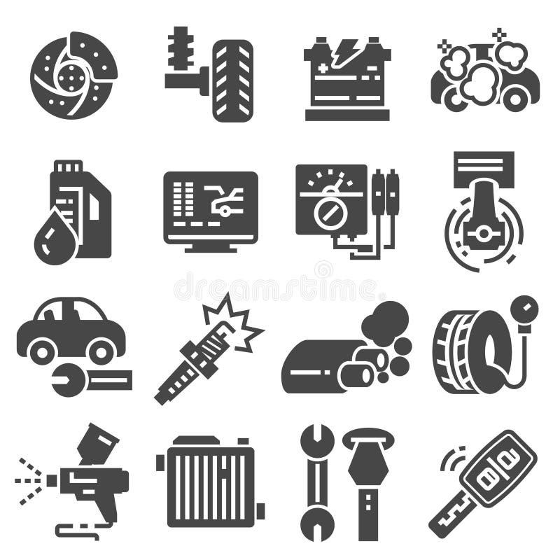 Vastgestelde vectorlijnpictogrammen met de open dienst van de wegauto, autoreparatie royalty-vrije illustratie