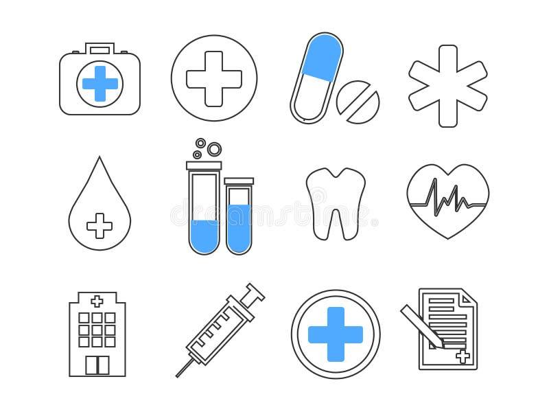 Vastgestelde vectorlijnpictogrammen, teken in vlakke ontwerpgeneeskunde, farmacologie, oncologie, bloedonderzoek, medische ethiek royalty-vrije illustratie