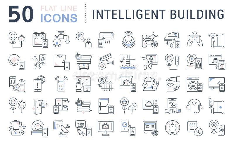 Vastgestelde Vectorlijnpictogrammen van de Intelligente Bouw stock illustratie