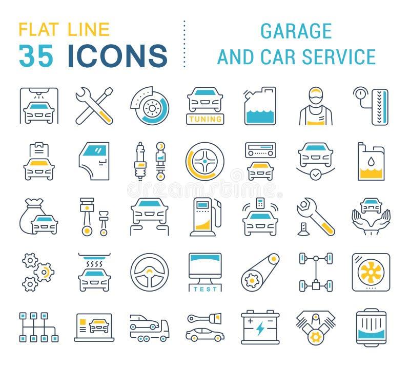 Vastgestelde Vectorlijnpictogrammen van Garage en Auto de Dienst royalty-vrije illustratie
