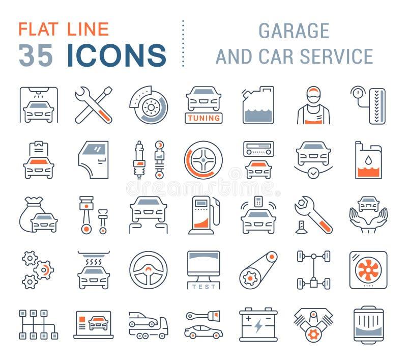 Vastgestelde Vectorlijnpictogrammen van Garage en Auto de Dienst stock illustratie