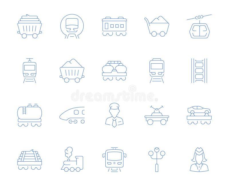 Vastgestelde Vectorlijnpictogrammen van Spoorwegvervoer vector illustratie