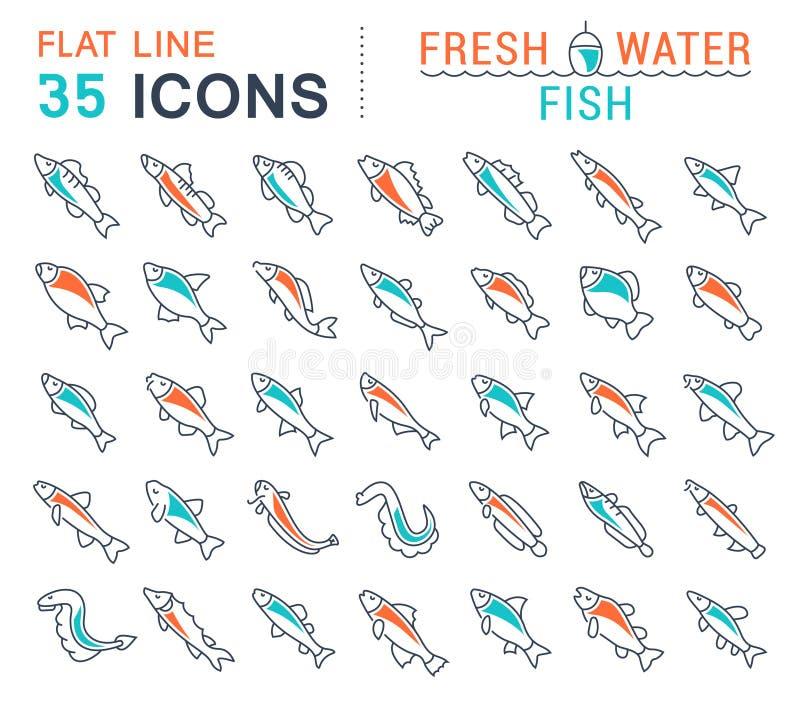 Vastgestelde Vectorlijnpictogrammen van Zoetwatervissen royalty-vrije illustratie
