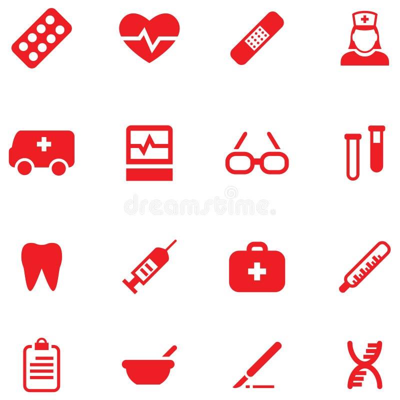 Vastgestelde vectorpictogrammen voor medisch en gezondheid vector illustratie