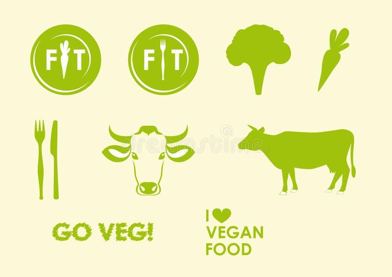 Vastgestelde veganist en vegetarische pictogrammen stock illustratie