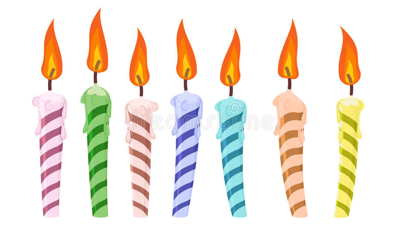 Vastgestelde verjaardagskaarsen stock afbeelding