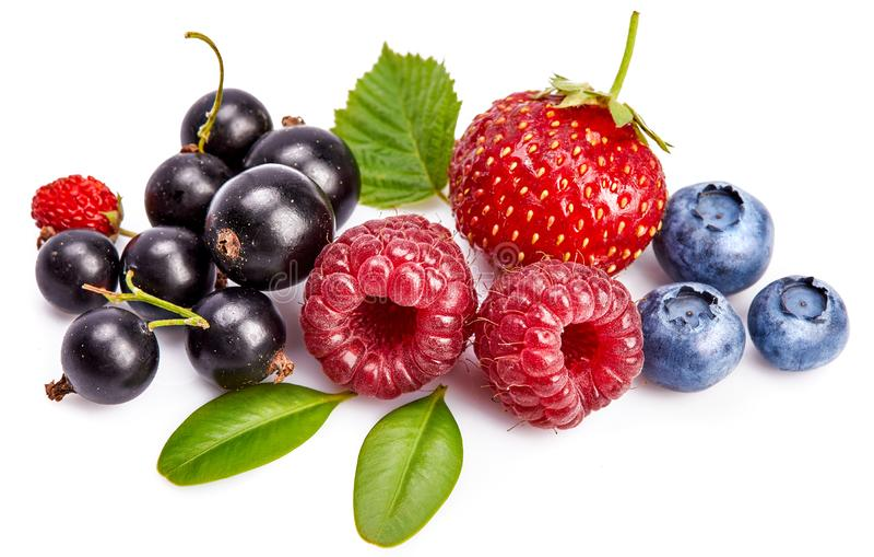Vastgestelde verse bes Framboos van het mengelings de zomerse fruit stock fotografie