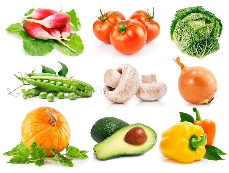 Vastgestelde verse groenten met groene bladeren stock foto's