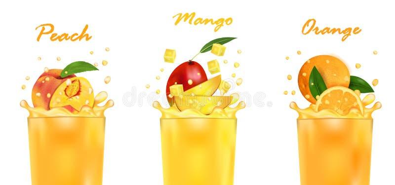 Vastgestelde verse sapmango, Sinaasappel, Perzik en plons Zoete tropische fruit 3d realistische vectordieillustratie, op wit word royalty-vrije illustratie