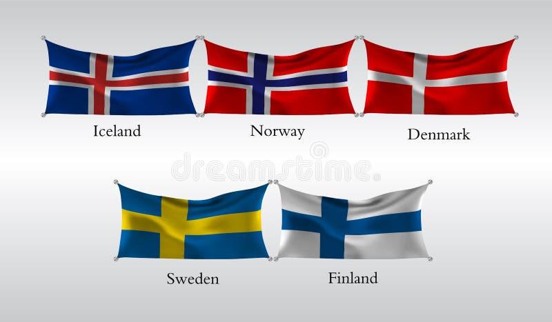 Vastgestelde Vlaggen van Europese landen Golvende vlag van IJsland, Noorwegen, Denemarken, Zweden, Finland Vector illustratie vector illustratie
