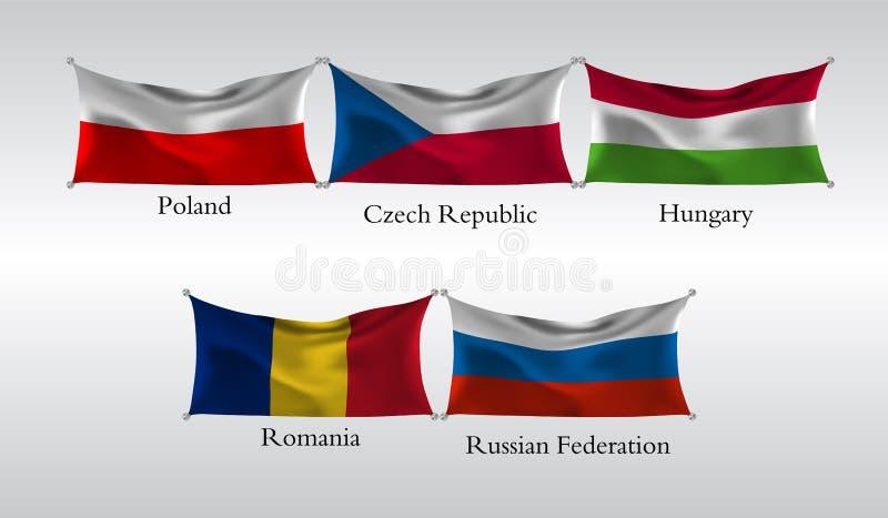 Vastgestelde Vlaggen van Europese landen Golvende vlag van Polen, Tsjechische Republiek, Hongarije, Roemenië, Russische Federatie stock illustratie