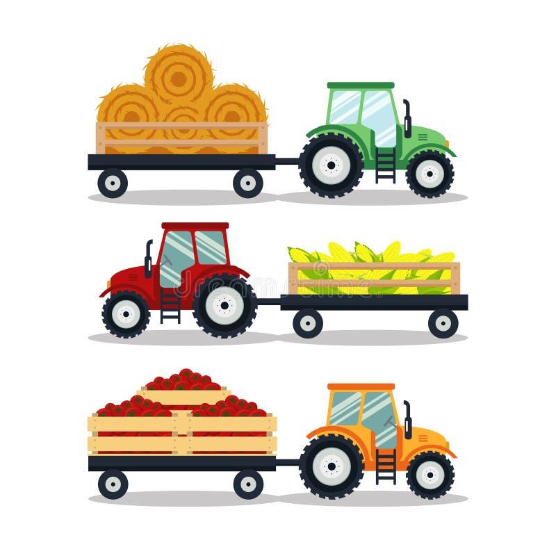 Vastgestelde vlakke die tractoren met een kargraan, hooi, tomaat op witte achtergrond wordt geïsoleerd De landbouwmachinestranspo vector illustratie