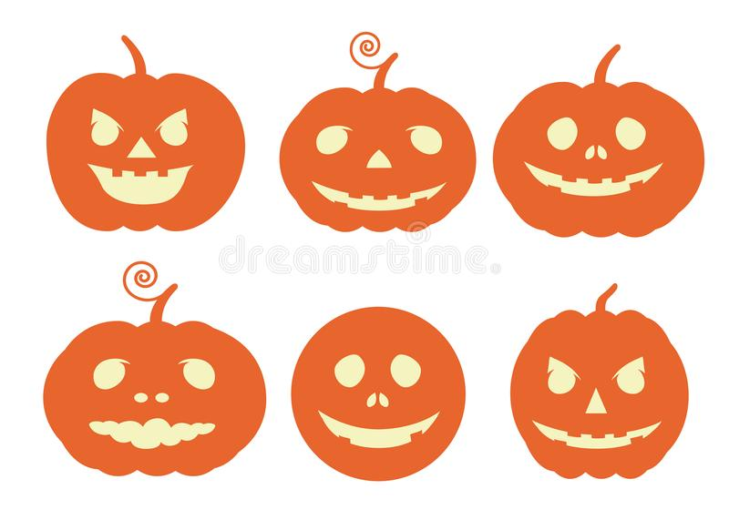 Vastgestelde vlakke ontwerpillustratie van pompoenen met gesneden gezicht Usabl vector illustratie