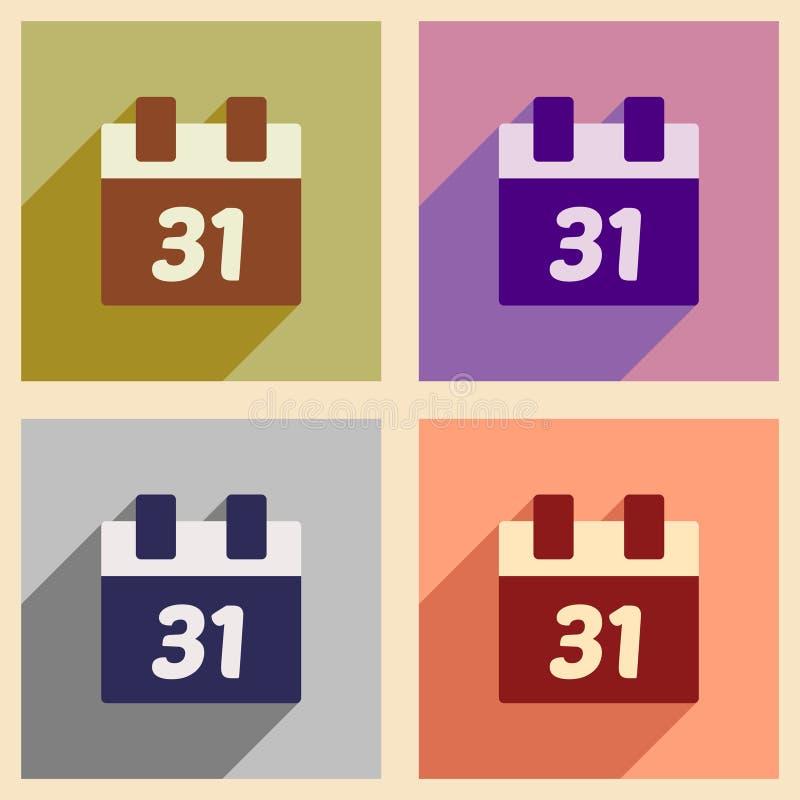 Vastgestelde vlakke pictogrammen met de lange kalender van schaduwkerstmis vector illustratie