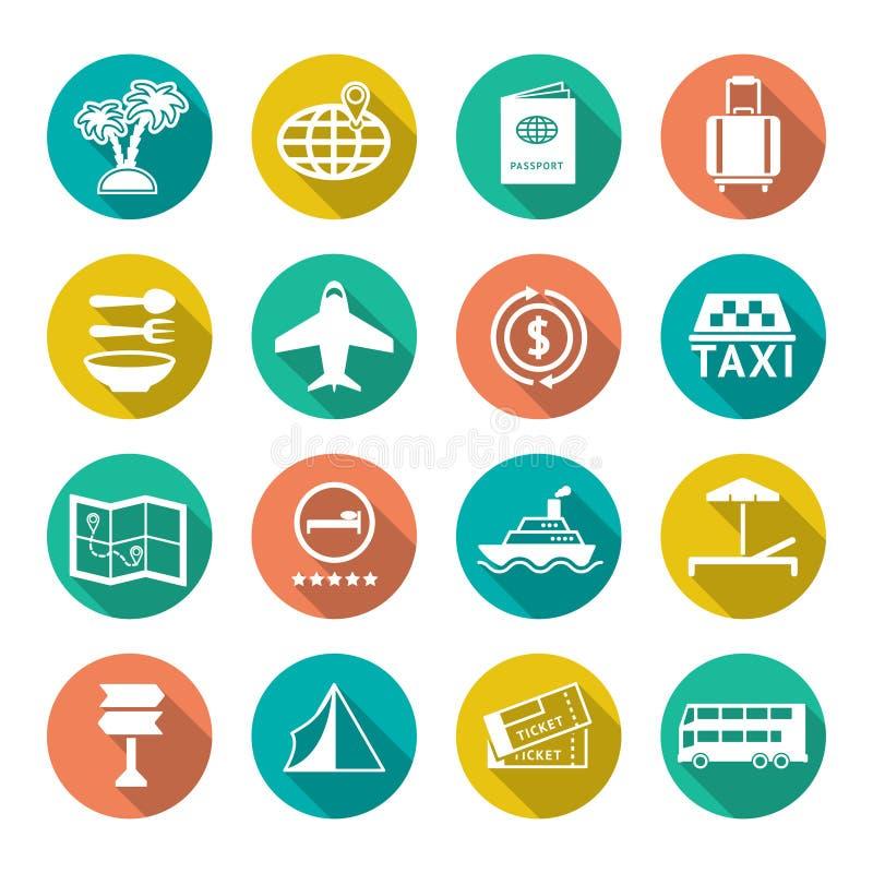 Vastgestelde vlakke pictogrammen van reis, toerisme vector illustratie