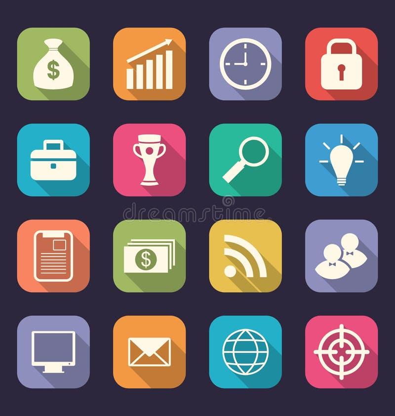 Vastgestelde vlakke pictogrammen van zaken, bureau en op de markt brengende punten, stijlwi vector illustratie