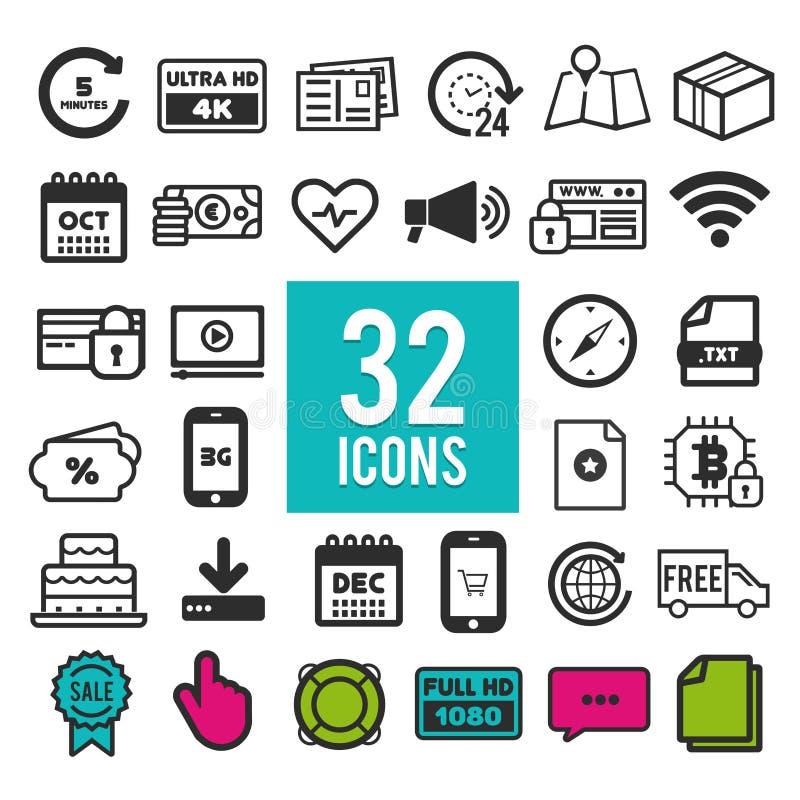 Vastgestelde vlakke pictogrammen, voor Web en mobiele apps - de reis van het bedrijfsfinanciënvervoer het winkelen vector illustratie