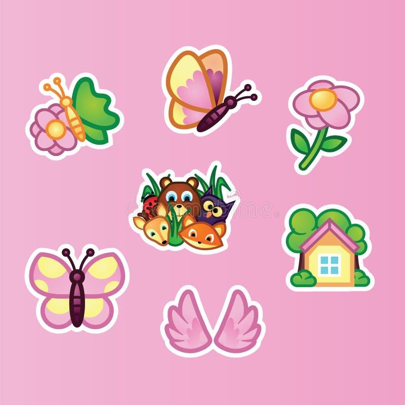 Vastgestelde vlakke stickers mooie vlinder, wildflowers, wild bosdieren en de zomerplattelandshuisje op roze achtergrond dieren stock illustratie