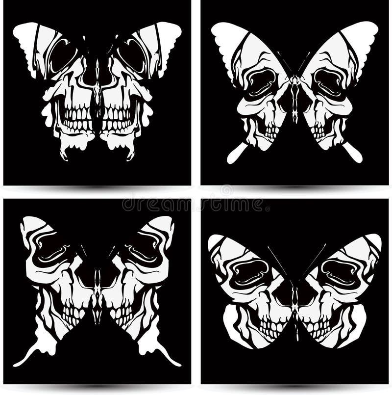 Vastgestelde vlinders aan schedels. Vector illustratie. royalty-vrije illustratie