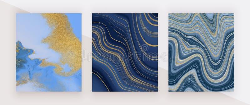 Vastgestelde vloeibare marmeren textuur Blauw en gouden schitter inkt schilderend abstract patroon In achtergronden voor behang,  royalty-vrije stock foto