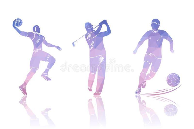 Vastgestelde Vormengolfspelers, Voetbal en Basketbal stock illustratie