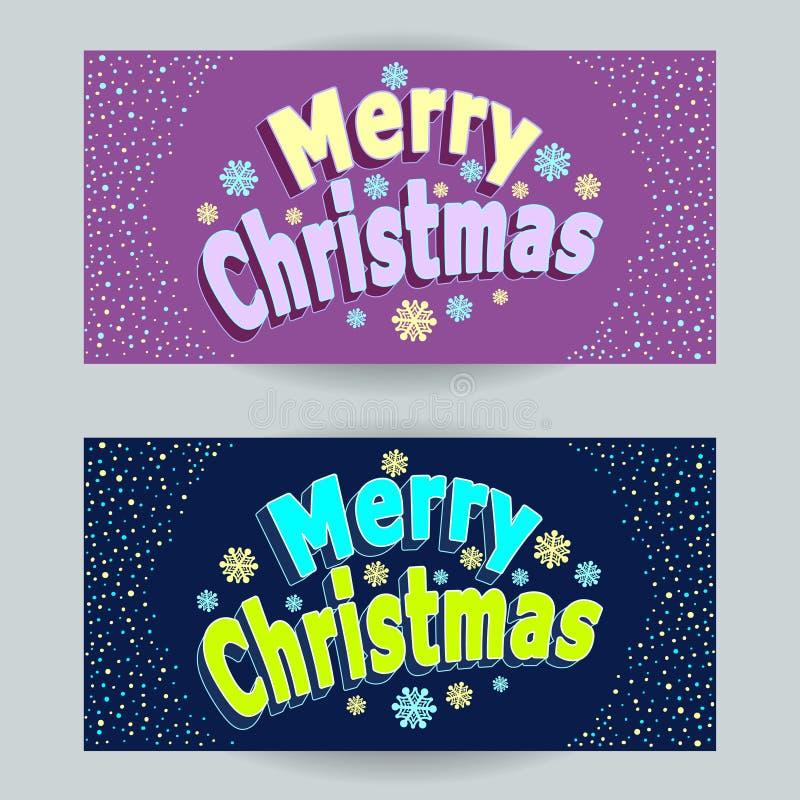 Vastgestelde Vrolijke Kerstmis horizontale banners in beeldverhaalstijl op sering en op donkerblauw vector illustratie