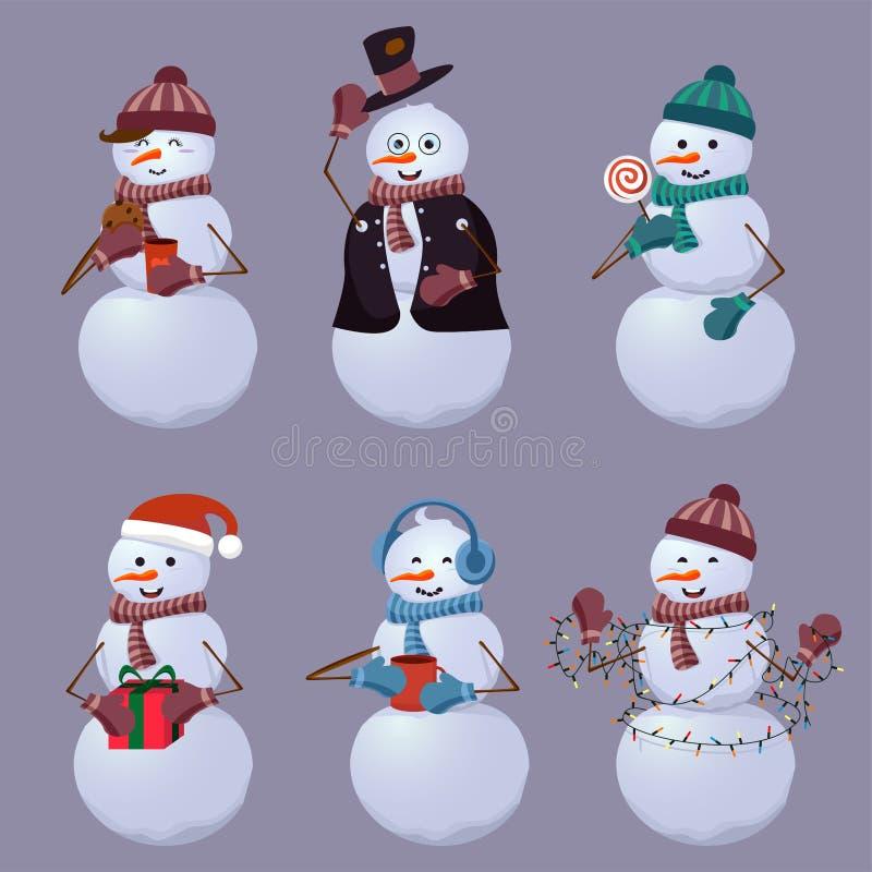 Vastgestelde vrolijke sneeuwmannenñ artoon vectorillustratie  royalty-vrije illustratie