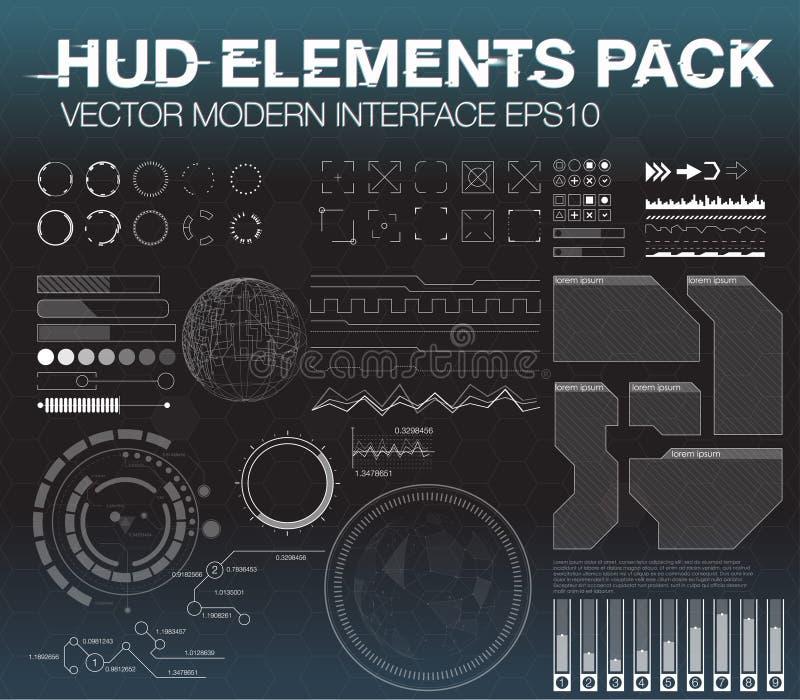 Vastgestelde Webelementen in HUD-stijl De elementen van Infographic futuristisch gebruikersinterface HUD UI UX royalty-vrije illustratie