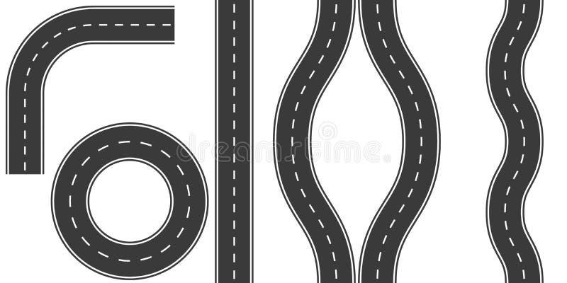 Vastgestelde wegennoteringen, de vectordraai van de de wegkromming van illustratieopties, omweg, ring stock illustratie