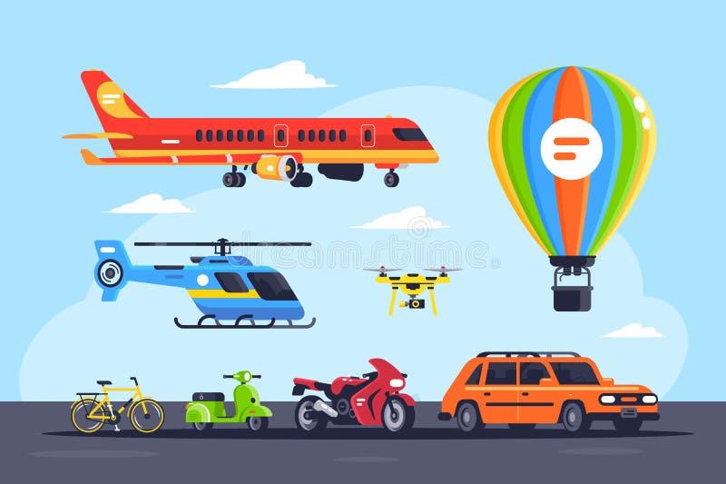 Vastgestelde wijze van vervoer met auto, ballon, motorfiets, vliegtuig, helikopter, quadcopter, fiets of fiets stock illustratie