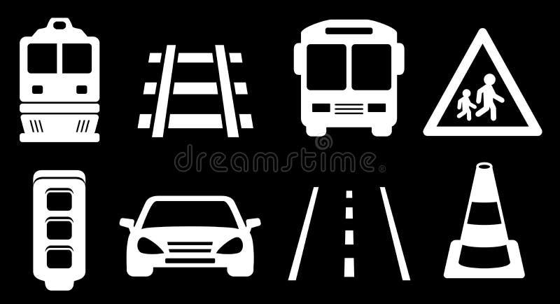 Vastgestelde witte vervoer geïsoleerde pictogrammen op zwarte achtergrond stock illustratie