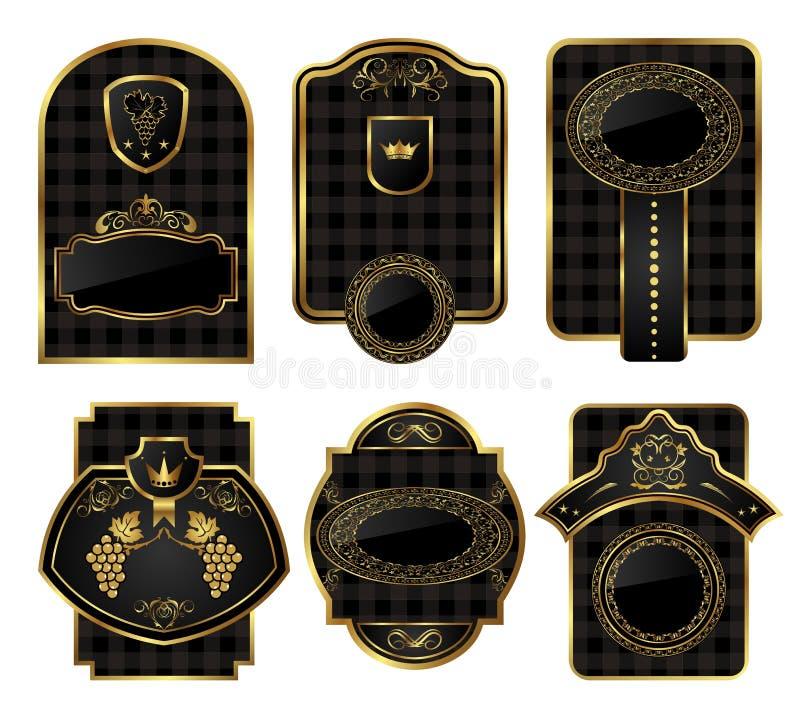 Vastgestelde zwart-gouden decoratieve frames royalty-vrije illustratie