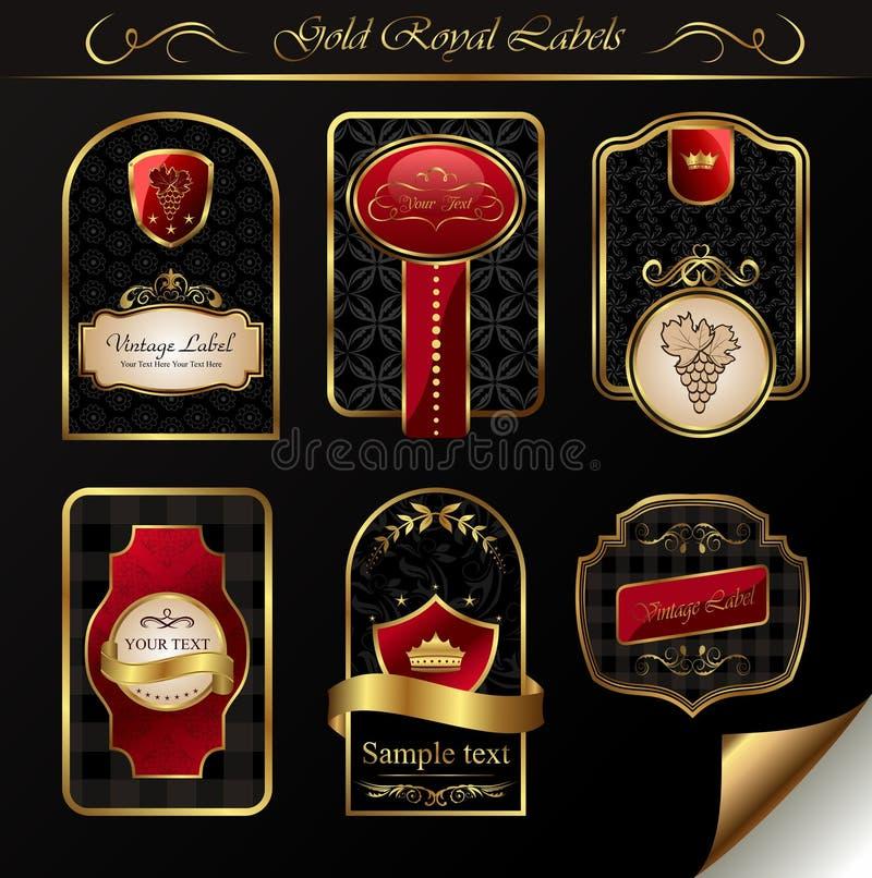 Vastgestelde zwarte gouden-ontworpen etiketten stock foto